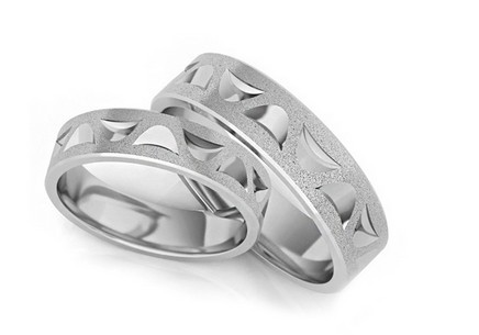 Rhodium plated sterling Silver wedding rings sanded 5 mm