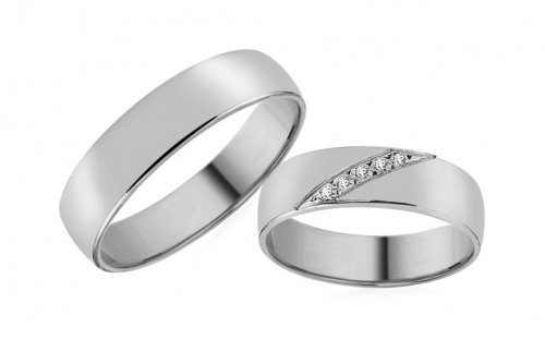 Wedding bands with cubic zirconia width 5mm - RYOB103