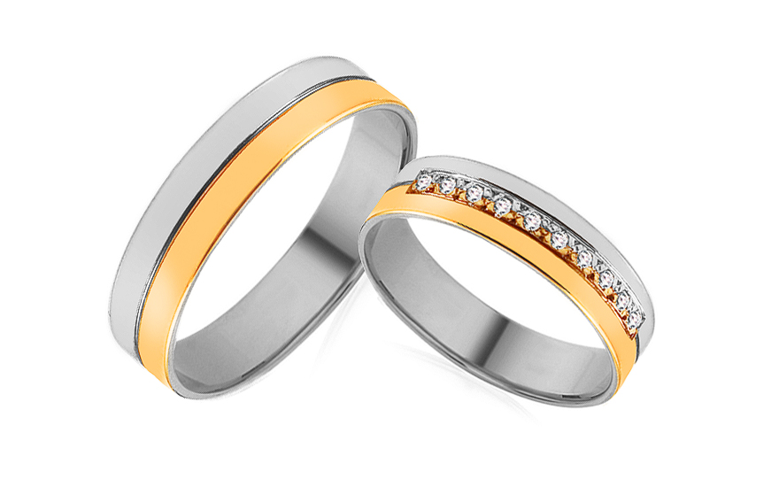 Wedding bands with cubic zirconia width 5mm