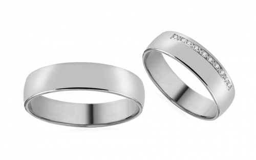 Wedding bands with cubic zirconia width 5mm - RYOB015