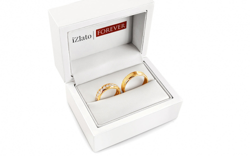Wedding bands with cubic zirconia width 5mm - STOB175 - in a box