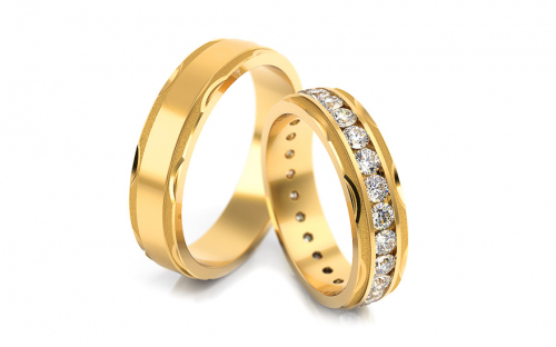 Wedding bands with cubic zirconia width 5mm - STOB175