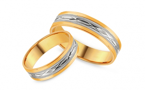 Two tone Wedding rings with engraved pattern, width 5 mm - IZOB113WY