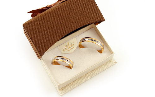 Two tone Wedding rings with engraved pattern, width 5 mm - IZOB113WY - in a box