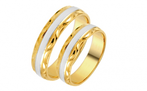 Bi-color Wedding Rings with engraved pattern width 5mm - IZOB450