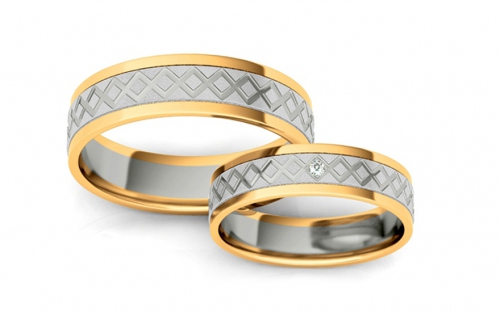 Wedding rings engraved with zircon width 5 mm - STOB228