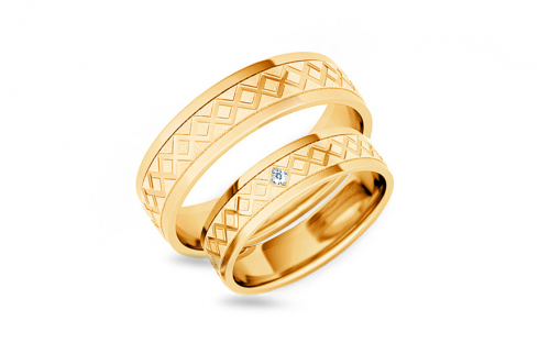 Wedding rings engraved with zircon width 5 mm - STOB228Y