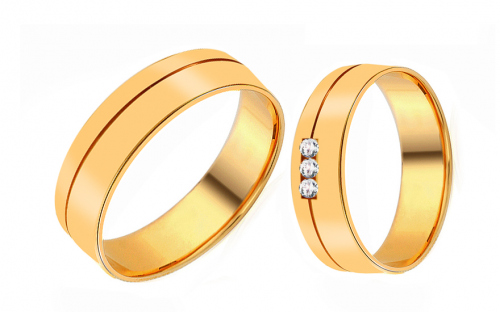 Wedding rings from yellow gold with cubic zirconia - RYOB194