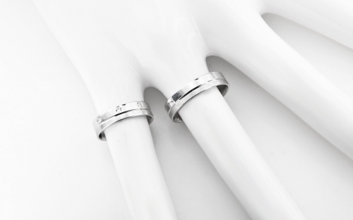 White gold wedding rings with stones - RYOB045