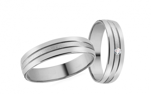 Wedding rings in white gold with stones - RYOB192