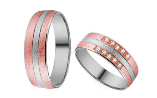 Wedding rings in white and rose gold with zircons - RYOB162
