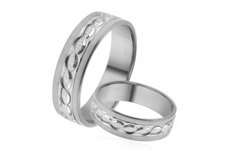 Wedding rings white with engraved pattern width 5 mm - IZOB494A