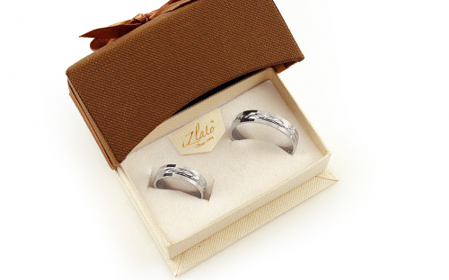 Wedding rings white with engraved pattern width 5 mm - IZOB494A - in a box