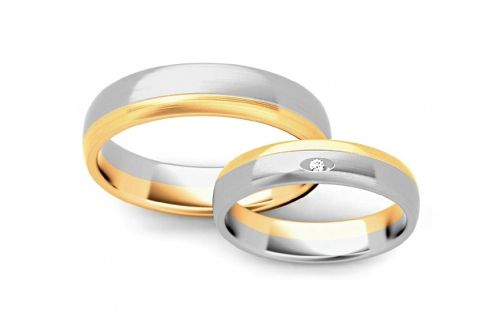 Wedding rings with cubic zirconia width 4.5mm - STOB288