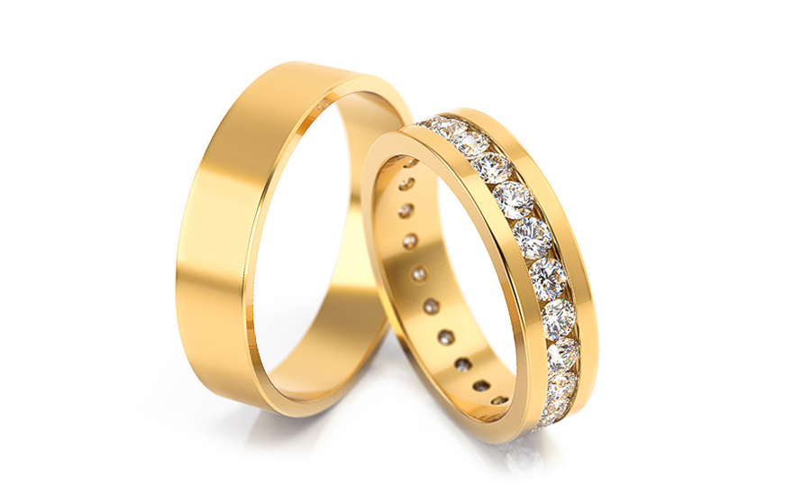 Wedding rings with stones 5 mm - STOB084