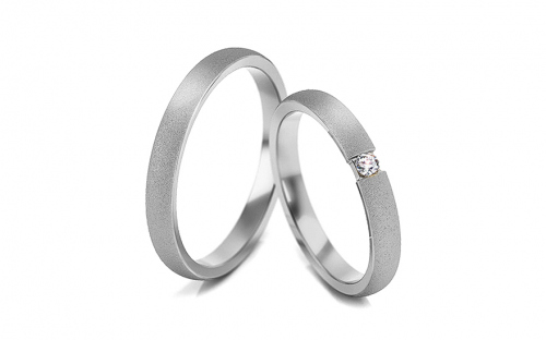 Wedding rings with stones width 3 mm - STOB260A
