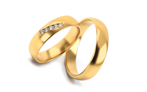 Wedding rings with stones width 4.6 mm - STOB270