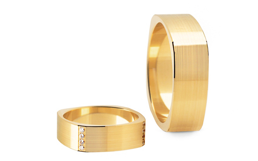 Wedding bands with cubic zirconia width 6.2 mm - STOB194