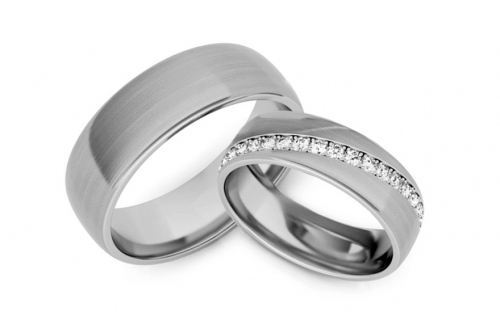Wedding bands with cubic zirconia width 6mm - STOB292