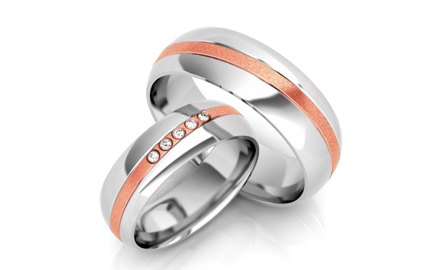 Wedding bands with cubic zirconia width 6mm - STOB256R