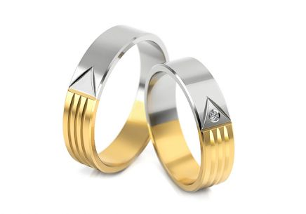 Wedding rings two tone with stone width of 4 to 6 mm