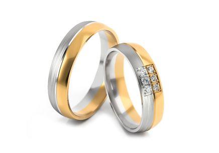 Wedding rings two tone with stones width 5 to 6 mm