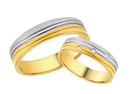 Combined Wedding bands with Zircons width 5mm