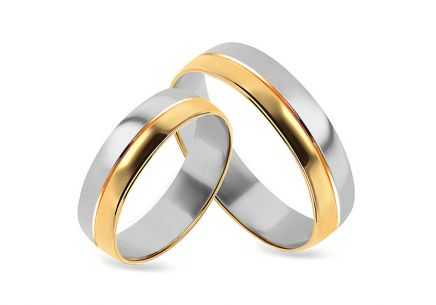 Gold combined wedding rings, width 4 mm