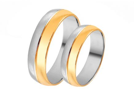 Gold combined wedding rings, width 5 mm