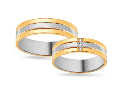 Gold combined wedding bands with zircons, width 5 mm