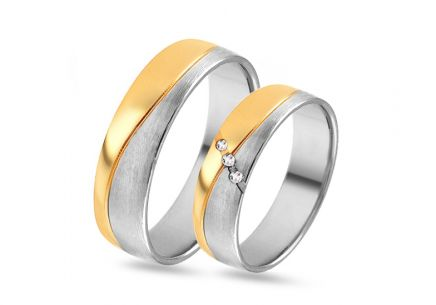 Gold combined wedding bands with zircons, width 4 to 8 mm