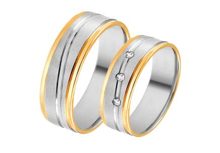 Gold combined wedding rings with zircons, width 6 mm