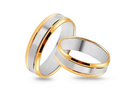 Gold combined wedding rings, width 3 to 9 mm