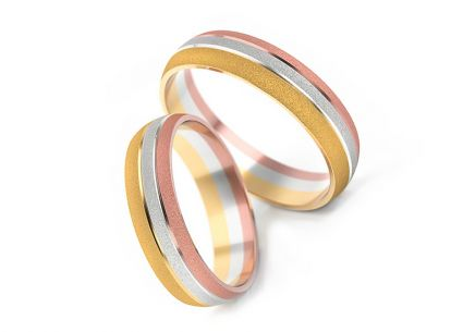 Wedding rings tricolor width 4 to 6 mm