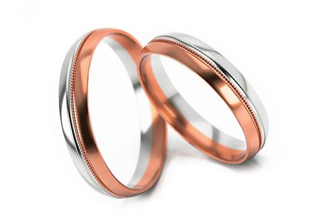 Wedding rings two-toned gold width 4 mm