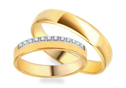 Wedding rings two-tone with zircons 4 mm wide