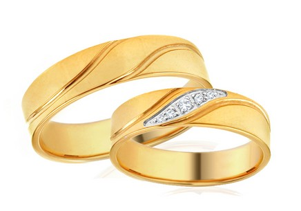 Wedding Bands Two Tone with Stones width 5 mm