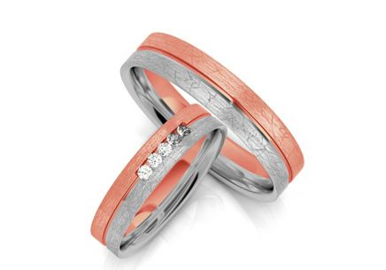 Wedding Bands with Zircons width 4-8 mm