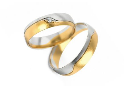 Wedding rings two-tone with stone width 4.5 mm