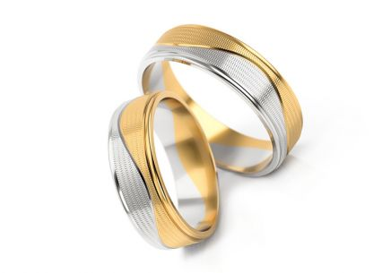 Wedding rings 2-tone width 6 to 8 mm