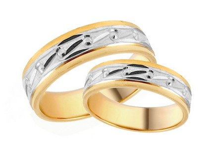 Bi-color Wedding Rings with engraved pattern width 5mm