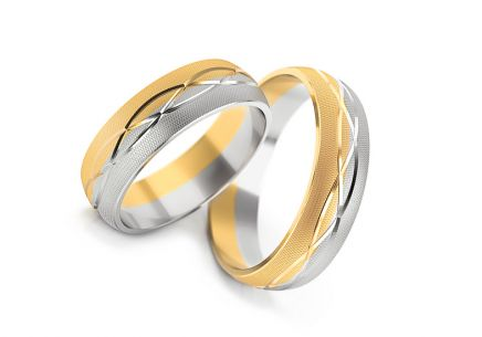 Wedding rings two tone matt width 5 to 7 mm