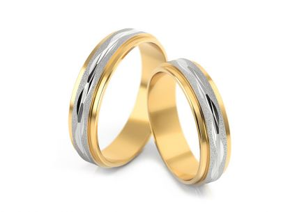 Wedding rings patterned width 4 to 6 mm