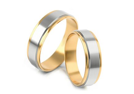 Wedding rings two-color width 4.3 to 6 mm