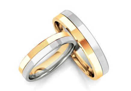 Wedding rings two tone width 4 to 8 mm