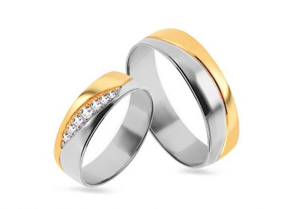 Wedding rings two tone with zircons, width 4 to 8 mm