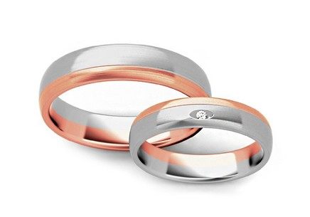 Wedding rings with cubic zirconia width 4.5mm