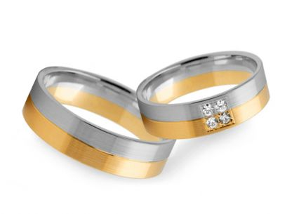 Wedding rings two tone with zircons width of 4 to 8 mm
