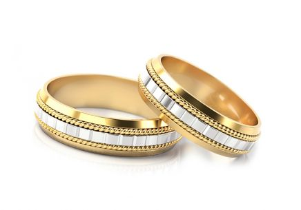 Wedding rings with squares width 5.5 to 6.5 mm