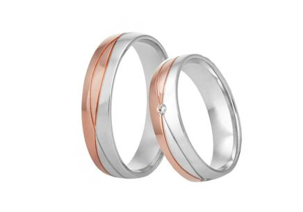 Bi-color wedding rings with cubic zirconia